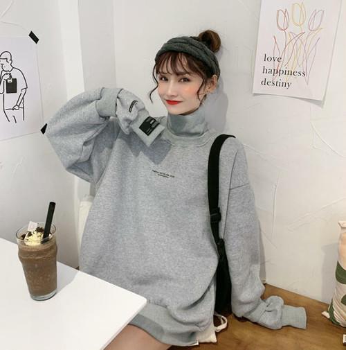 3色 スウェット トップス ハイネック ロゴ 裏起毛 重ね着風 長袖 ゆったり カジュアル シンプル 韓国 オルチャン ファッション