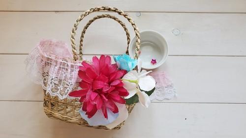 おでかけ花かご(ピンクレース) / キット