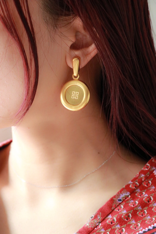 GIVENCHY gold round earrings