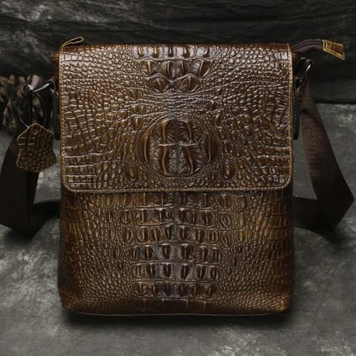 Leather Messenger Bag Crocodile Leather Shoulder Bag Vintage ショルダーバッグ レザー 天然 メッセンジャーバッグ ビンテージ (YYB99-1992310)