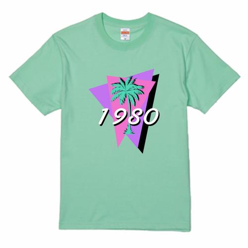 80's ファンシー PalmTree Tシャツ mint green