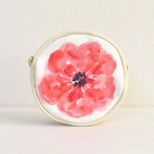 ブルームフラワー サークルポーチ 花柄 レッド