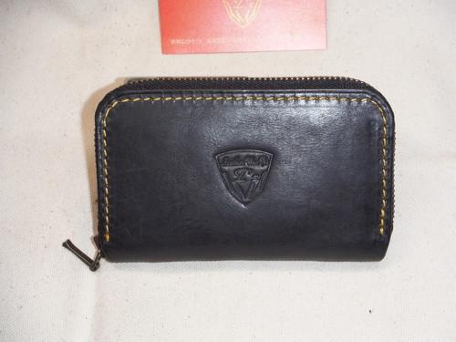 ラウンドファスナー   ミニ財布 ブラック タンニンオイルレザー