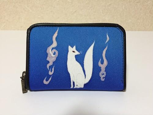 ラウンド財布「狐」青ぼかし