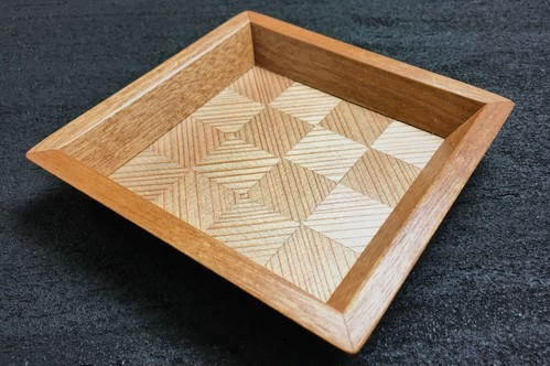 杉 wood checker mini tray  0102