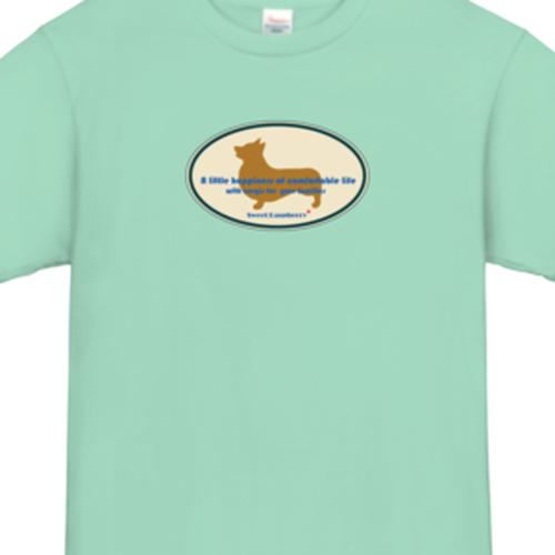 コーギーTシャツ・デザイン:コーギーボード,カラー:アイスグリーン