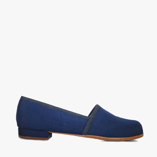 Deux Souliers (サンプルコレクション) - Picnic #3 キャンバスフラットシューズ (ブルー) 【スペイン】【靴】【スリッポン】【エスパドリーユ】【インポート】【VOGUE】