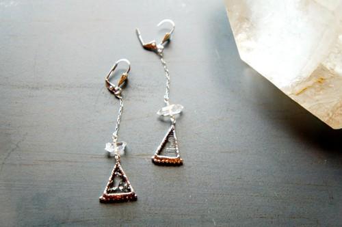 硝子のピアス♢*古硝子+ハーキマーダイヤモンド