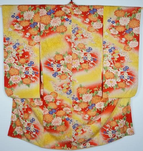 アンティーク 子供 着物 正絹 花柄 黄色 赤 001