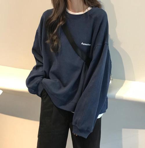 2色 スウェット プルオーバー トップス ロゴ 長袖 ゆったり カジュアル シンプル 韓国 オルチャン ファッション