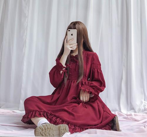 【即納】クラシカル リボンワンピース レッド