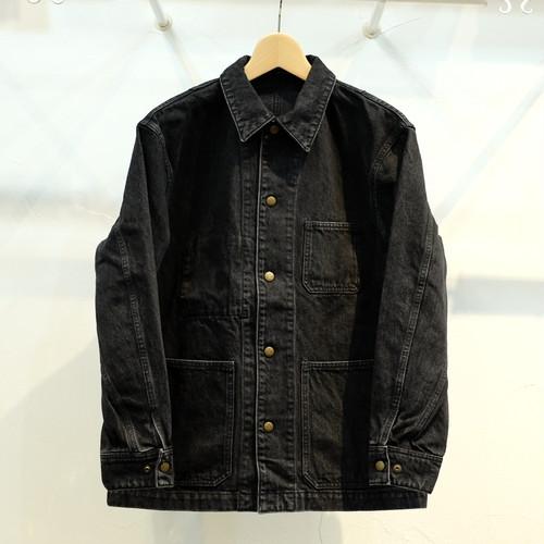 KUON(クオン) 裂き織り帯パッチ カバーオール ブラックデニム