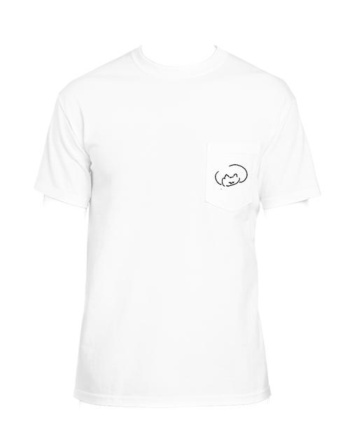 ねこの刺繍のポケットTシャツ