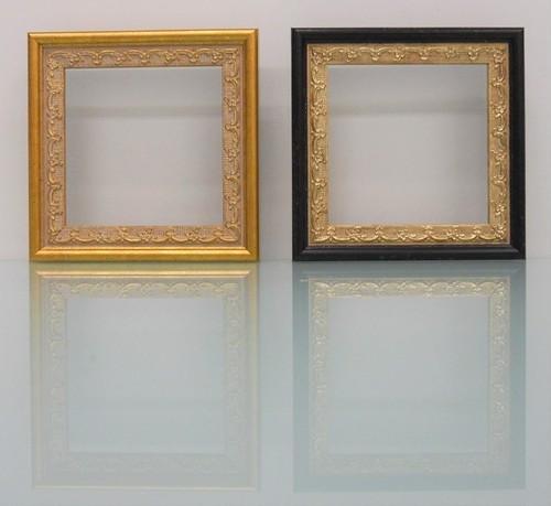 樹脂アンティークおしゃれ樹脂フレームゴールド&G/ブラックD-8227額縁サイズ100mm×100mm窓枠サイズ88mm×88mm 2mmアクリル裏板付 壁掛け用/箱なし