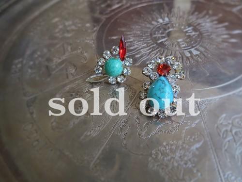 vintage pierced earrings asymmetry <PE-RB5>