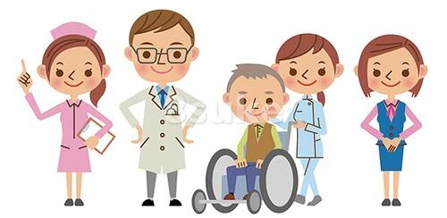イラスト素材:医療スタッフイメージ/医者・看護師・介護士・医療事務・患者(ベクター・JPG)