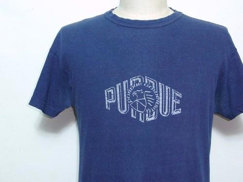 1960's SOUTHERN ATHLETIC PURDUE大学カレッジプリント100%コットンTシャツ ネイビー 実寸(M位)