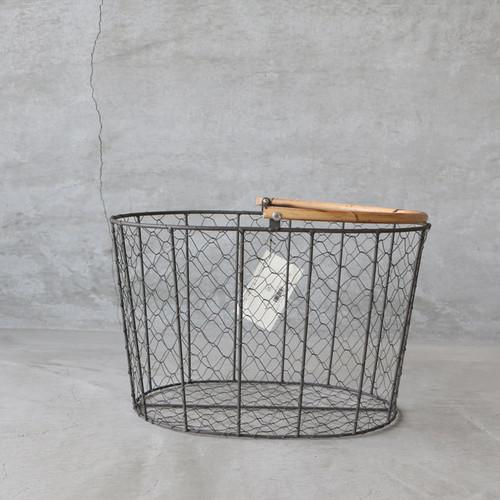 PUEBCO RATTAN HANDLE WIRE BASKET Large(プエブコ ラタンハンドル ワイヤーバスケット L)