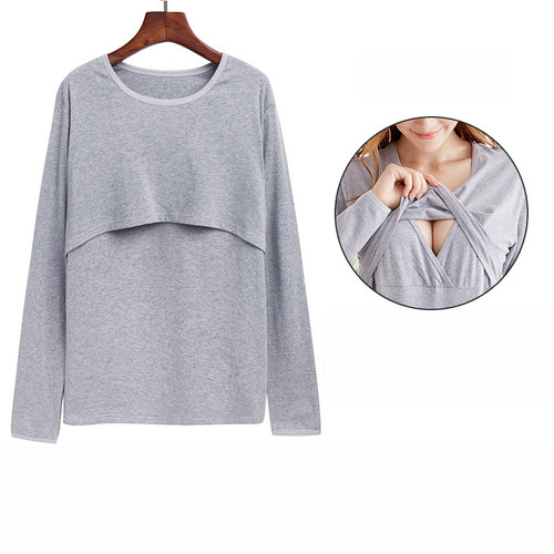 【注文商品】【マタニティー】Maternity Long Sleeve Nursing 【Gray A】