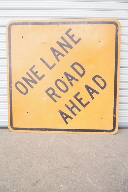 品番1175 ONE LANE ROAD AHEAD 道路看板 012