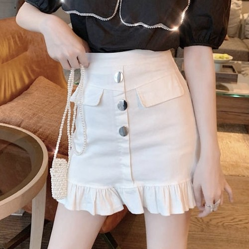 front button skirt 3color