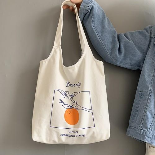 【バッグ】韓国風シンプル清新帆布エコバッグ