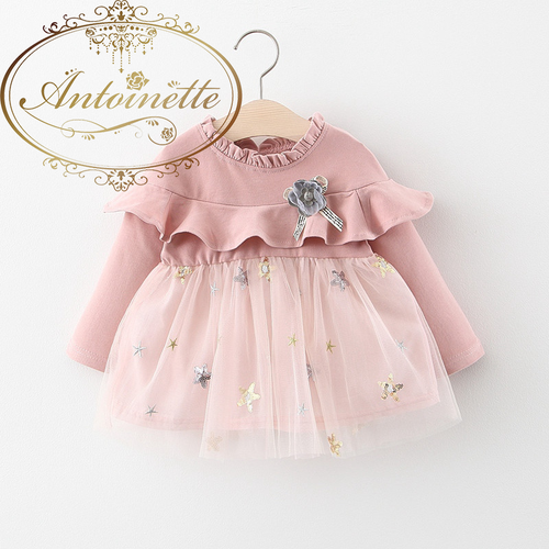 Girls Dress Kids Princess 2020 Spring Long Sleeve Dress Children Baby Infant Ruffle Flower Mesh Patchwork Dresses