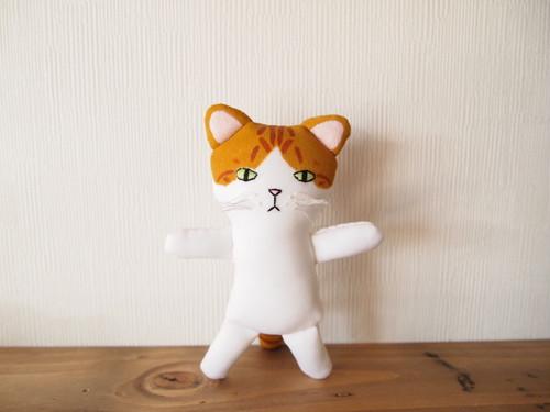 茶白猫人形