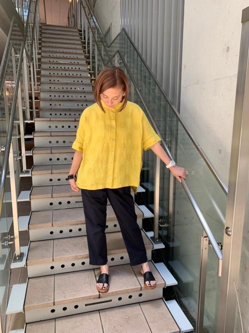 WOMENS:HEAVENLY【ヘブンリー】リネンドットバンドカラーシャツ(イエロー/FREE)