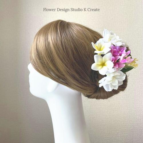 プルメリアとデルフィニュウムのヘッドドレス リゾートウェディング 髪飾り 成人式 結婚式 ヘッドドレス ウェディング