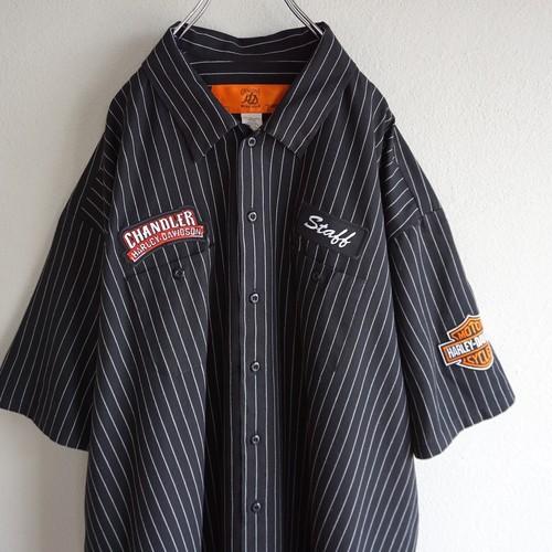 """[HARLEY-DAVIDSON] """"CHANDLER"""" S/S ワークシャツ ブラック×ホワイト ピンストライプ 表記(4XL) ハーレーダヴィッドソン"""