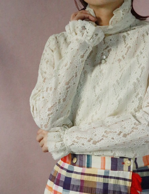 70's frill neck laced blouse