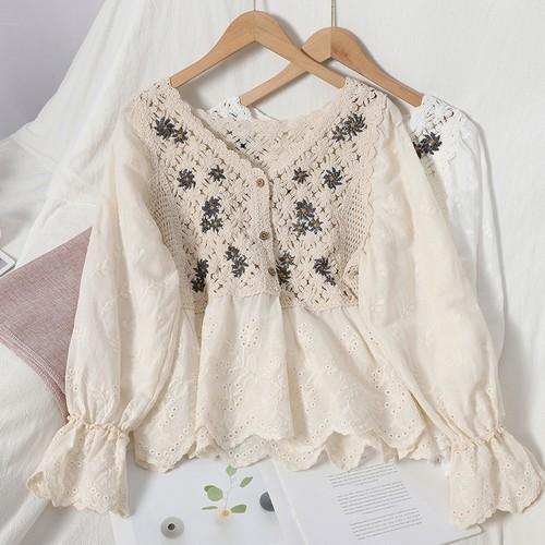 レディース 可愛い オシャレ Vネック 長袖 刺繍 花柄 ブラウス・トップス