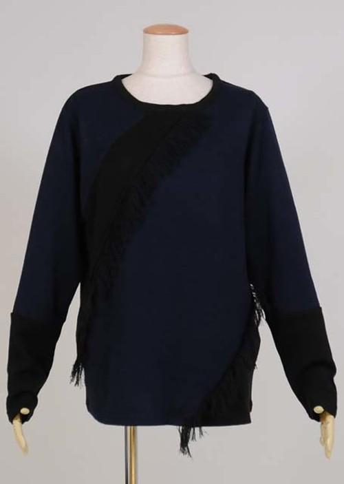 kiida フリンジ切り替えニットTシャツ KUD26-T526 BK-NV/MM