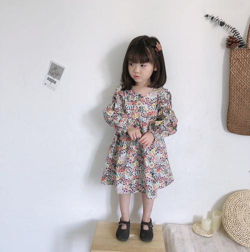 ミモレ丈スカート花柄キッズワンピース レッド