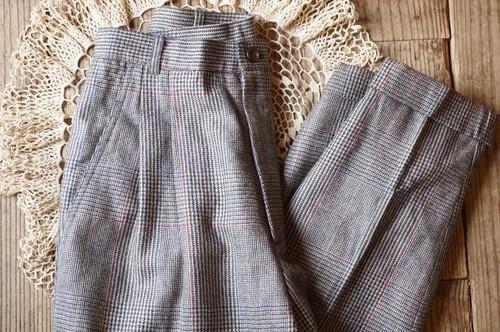 80's J.G.HOOK glen plaid wool Slacks