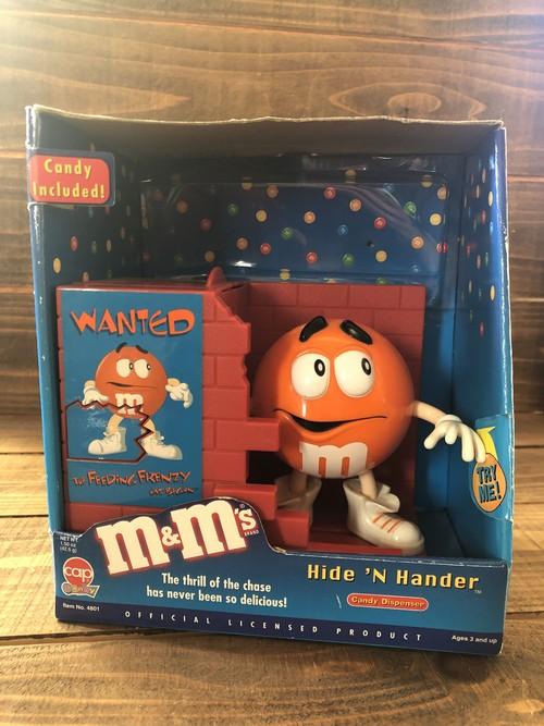 m&m's Candy Dispenser Hide'N Hander/エムアンドエム chocolate ディスペンサー wanted オレンジ 90s