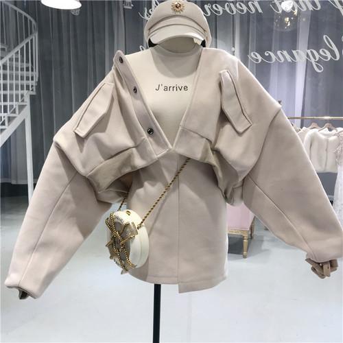 【即日発送】ルーズブルゾン ハイウエストスカート セット 3カラー o1508