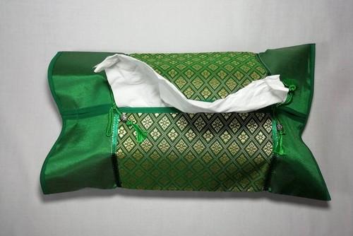 (OT005-6)布製タイ風ティッシュカバー グリーン(光沢感あり)