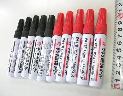 サクラ白板マーカー中字用 黒赤10本セット(黒5本+赤5本)|サクラクレパスのホワイトボードマーカーを特価販売中!在庫なくなり次第販売終了