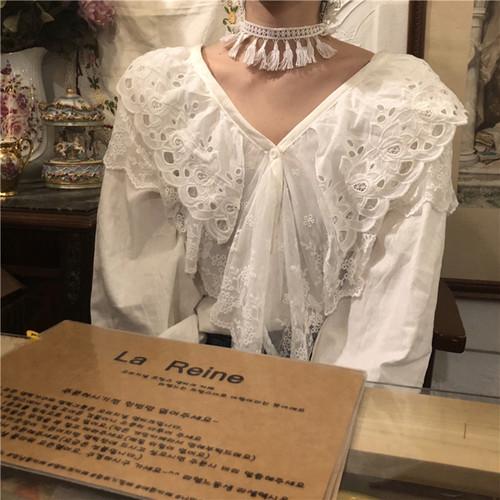 【送料無料】 大きめフリル襟♡ レース フラワー刺繍 ガーリー キャンデースリーブ ブラウス