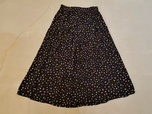 Flower pattern crepe skirt /Made In France [O-90]