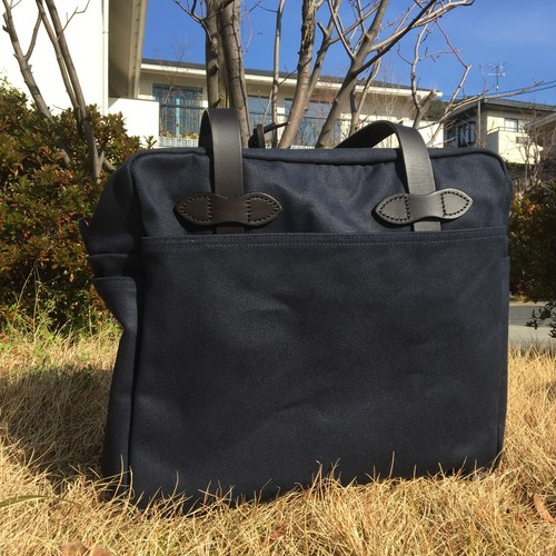 """FILSON """"TOTE BAG with ZIPPER(navy)"""""""