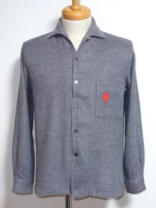 1950's Tempo ダイヤ刺繍ループカラーボックスシャツ グレー 表記(S)