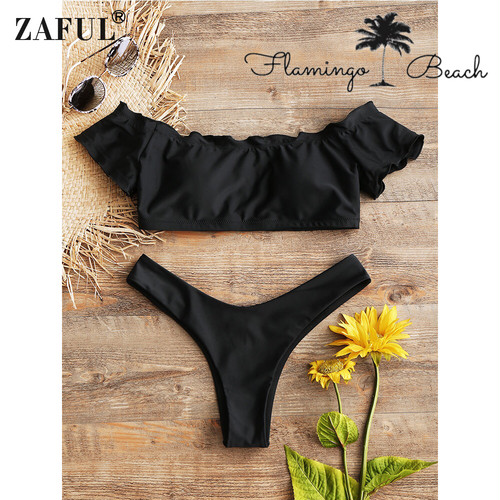 【FlamingoBeach】black off shoulder bikini