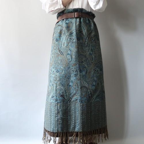 Vintage shawl / Peacock blue