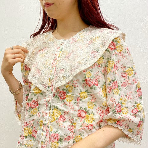 (LOOK) flower lace collar blouse