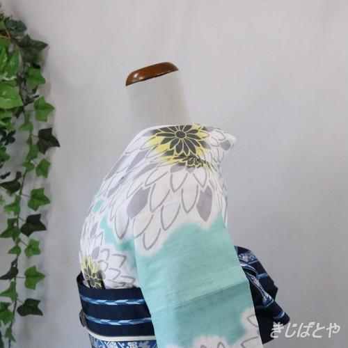 綿浴衣 淡い水浅葱に白菊