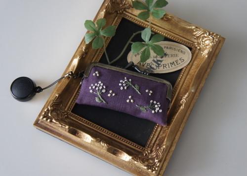 刺繍の印鑑ケース(パープル・かすみ草)