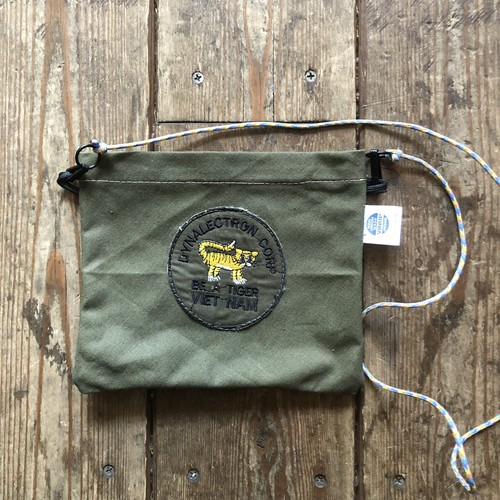 Vintage Tent Cloth Sacoche with patch, Be A Tiger